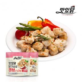 맛있닭 닭가슴살 큐브 혼합구성 1kg (마늘 5팩+고추 5팩)